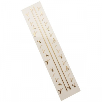 3D Gold Zipper Nail Stickers