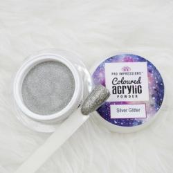 Silver Glitter Coloured Acrylic Powder -10g